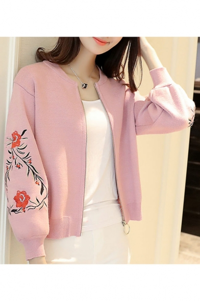Up Chic Neck Embroidered Cardigan Long Zip Floral Sleeve Round qpqwPn0B