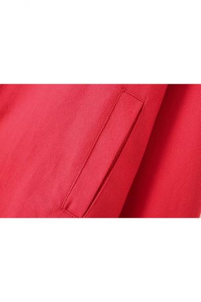 Chic Zip Pocket Lapel Collar Long Sleeve Basic Plain Denim Jacket