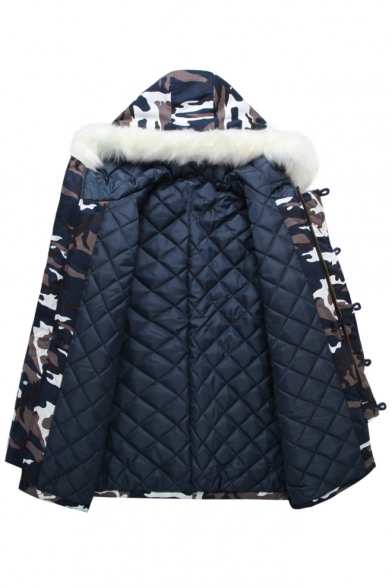 Classic Camouflage Pattern Fur Hooded Long Sleeve Zip Up Winter's Coat