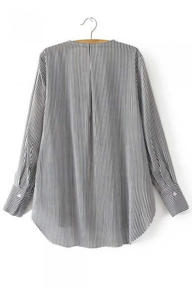 Fresh Striped Ruffle Front Long Sleeve Single Breasted Shirt