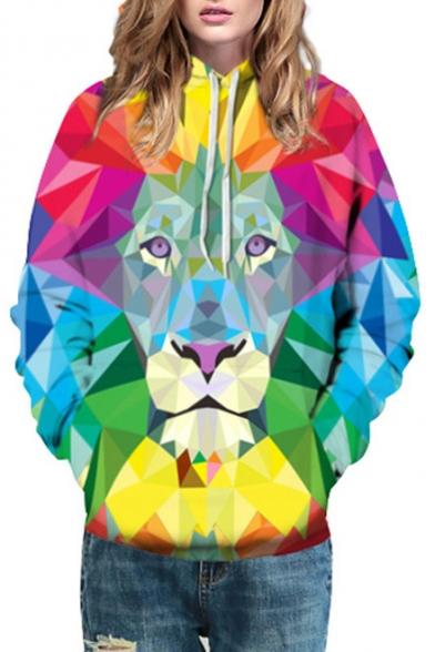 Geometric Lion Color Block Printed Long Sleeve Hoodie