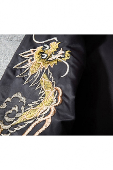 New Collection Fashion Dragon Bird Embroidered Long Sleeve Zip Up Baseball Jacket