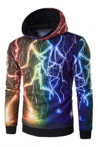 New Fashion Digital Lightning Pattern Long Sleeve Casual Hoodie