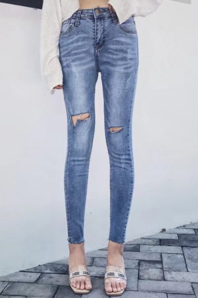 New Fashion High Waist Stylish Ripped Out Knees Skinny Jeans ...
