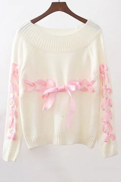 Neck Embellished Round Fashion Ribbons Sleeve Pullover Tie Sweater New Long w4BUfnqBc