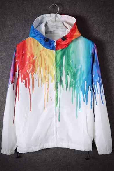 New Stylish Splash-Ink Pattern Hooded Long Sleeve Zip Up Unisex Casual Coat