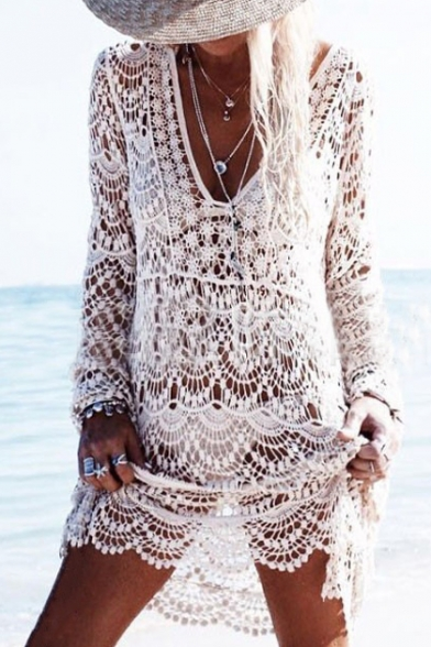 Sexy Lace Hollow Out Plunge Neck Long Sleeve Plain Outdoor Beach Cover Up Swimwear