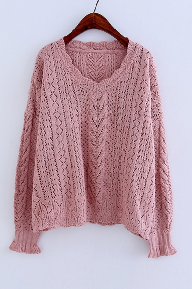 Basic Simple Plain Hollow Out V Neck Long Sleeve Pullover Sweater