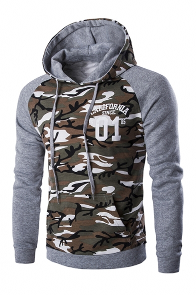 Fashion Color Block Camouflage Pattern Long Sleeve Casual Hoodie