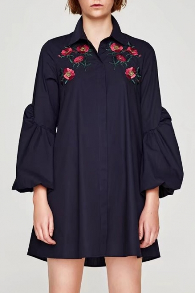Fashion Puff Sleeve Chic Floral Embroidered Lapel Collar Buttons Down Mini Shirt Dress