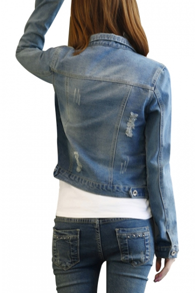 Fashion Ripped Out Plain Lapel Collar Long Sleeve Buttons Down Denim Jacket