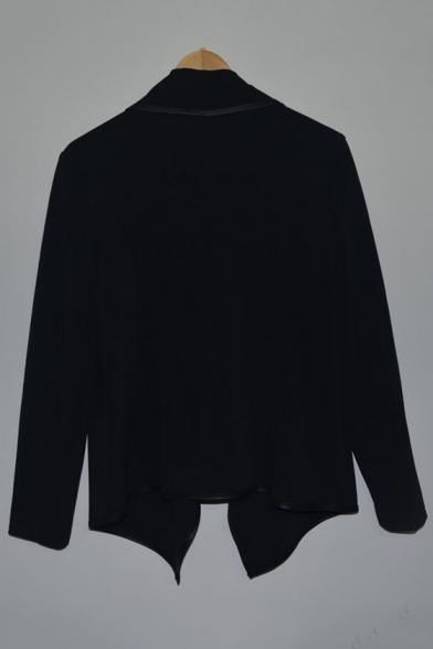 Fashion Zip Coat Simple Waterfall Sleeve Plain Long Collar Embellished aSwrvqa