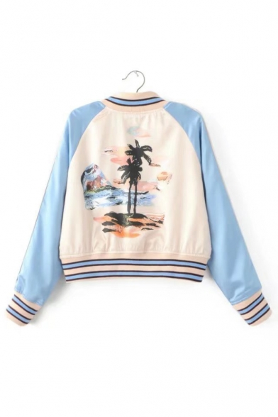 Baseball Printed Long Sleeve Contrast Jacket Cropped Block Color Raglan Floral Fqwdf8w