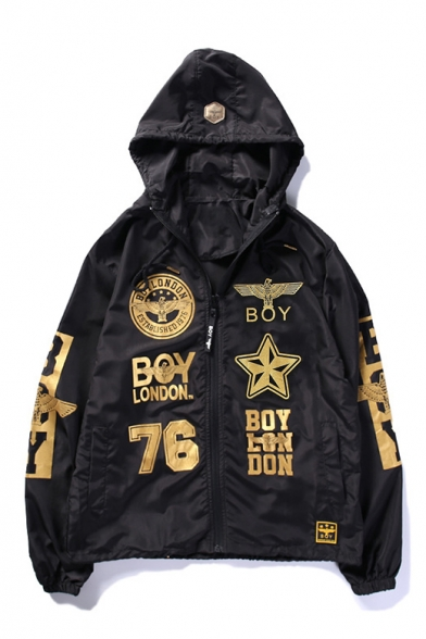 Hot Fashion Street Style Letter Printed Long Sleeve Hooded Zip Up Coat