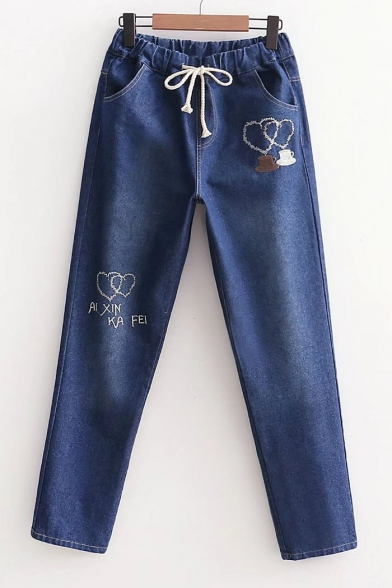 Letter Embroidered Drawstring Waist Loose Casual Jeans