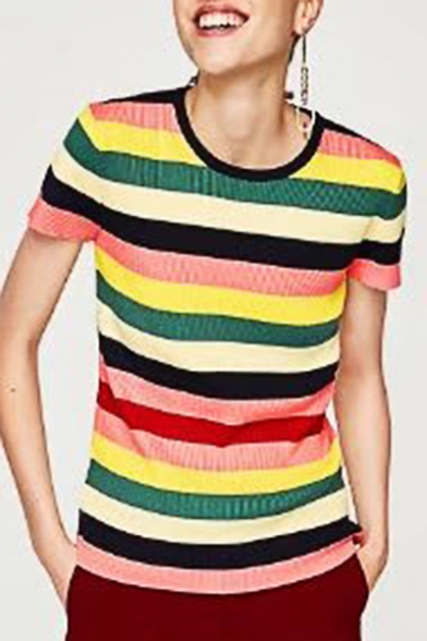 New Arrival Colorful Striped Printed Round Neck Short Sleeve Pullover Sweater