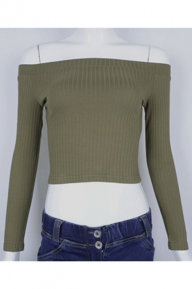 Long Cropped Sexy T Plain Slim Basic New Off The Shirt Shoulder Sleeve ZTFqB