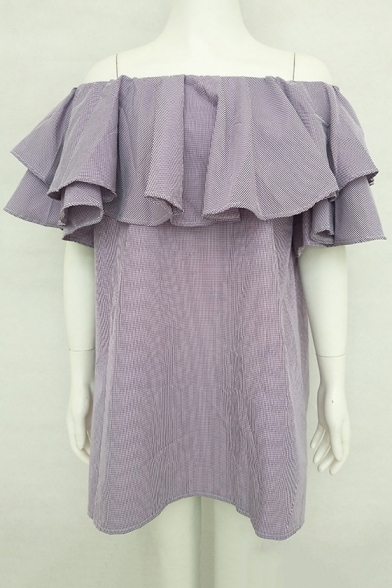 Sexy Off The Shoulder Fashion Ruffle Hem Simple Plain Mini Shift Dress