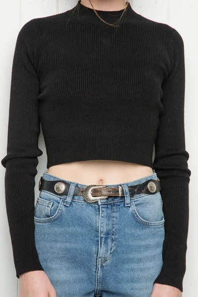 Long Sweater Plain Neck Round Pullover Sleeve Simple Cropped UwHzqxE