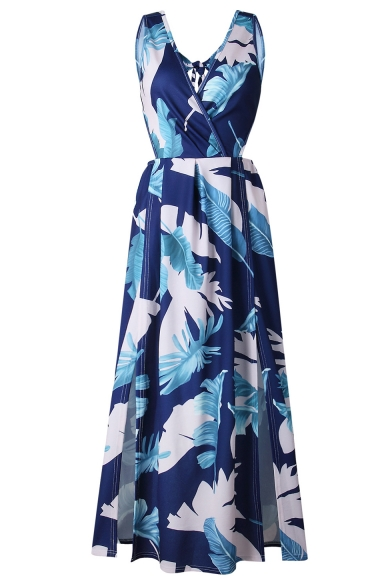 Summer's Floral Pattern Sexy Plunge Neck Hollow Waist Slit Front Maxi Beach Dress