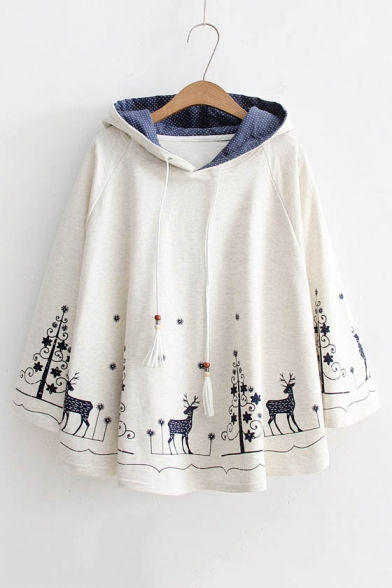 Fashion Cartoon Pattern Hem Long Sleeve Casual Loose Hooded Cape