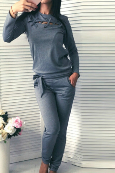 Casual Leisure Simple Plain Sports Round Neck Long Sleeve Sweatshirt with Pants