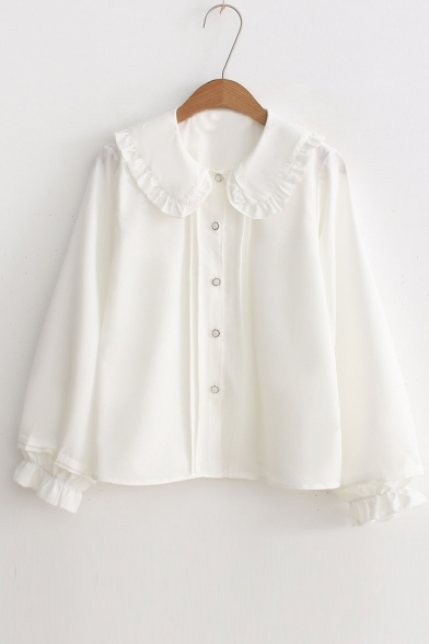 Chic Peter Pan Collar Long Sleeve Buttons Down Simple Plain Shirt