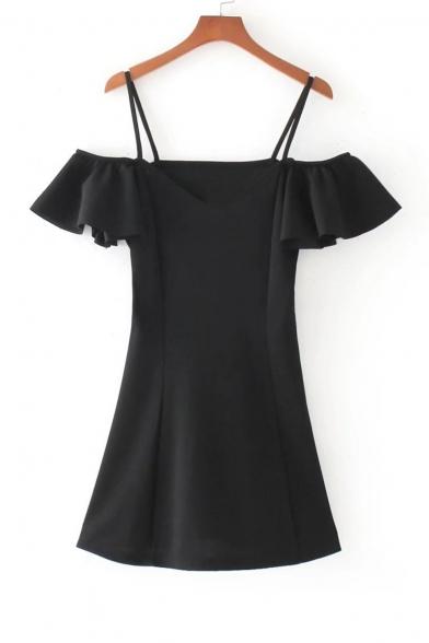 Chic Ruffle Sleeve Cold Shoulder Spaghetti Straps Mini Plain A-Line Dress
