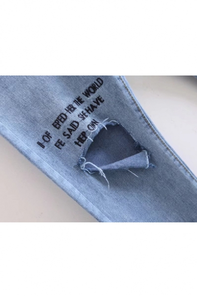 Embroidery Letter Cutout Knee High Waist Skinny Jeans