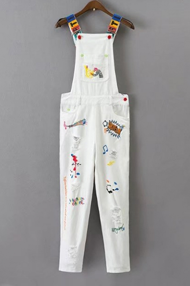 Fashion Cartoon Letter Graffiti Embroidered Ripped Out Denim Overall Pants