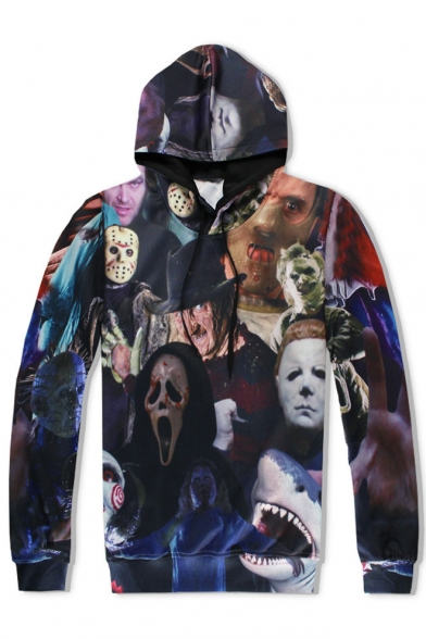 Fashion Digital Clowns Pattern Long Sleeve Casual Loose Unisex Hoodie