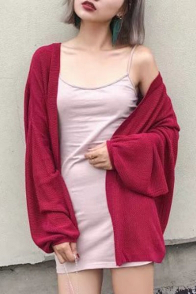 Sleeve Long Simple Front Fashion Cardigan Open Plain Lantern qwE6gZ5g