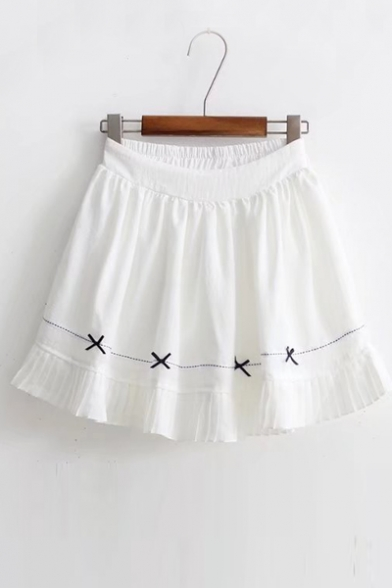 new arrival elastic waist lovely bow pattern hem mini a