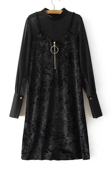 New Arrival Velvet Slip Dress Patched Mock Neck Long Sleeve Shift Midi Dress