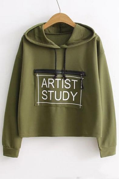 Loose Sleeve Zip Hoodie Stylish Pattern Letter Embellished Long Leisure New RO0Sw