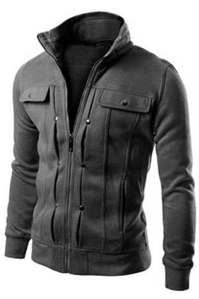 New Trendy Basic Simple Plain Stand-Up Collar Long Sleeve Zip Up Fitted Coat
