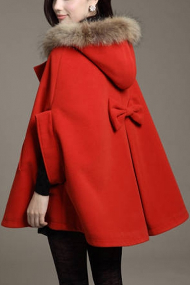 Winter's Fashion Fur Hooded Half Sleeve Buttons Down Cape Coat ...