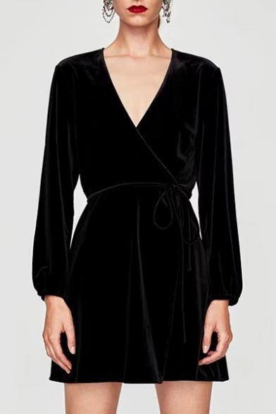 c05a556be81f Women's Plunge V-Neck Long Sleeve Plain Mini Wrap Dress - Beautifulhalo.com