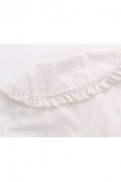 Chic Peter Pan Collar Long Sleeve Buttons Down Simple Plain Shirt