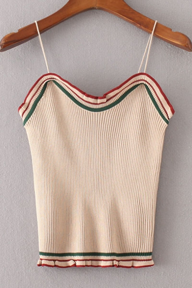 Sweater Women's Chic Spaghetti Sleeveless Contrast Straps Trim YAdHAq