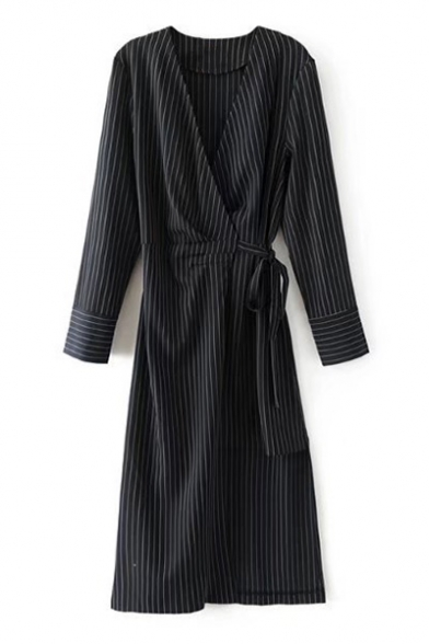 Classic Striped Pattern Wrap V Neck Long Sleeve Midi Wrap Dress
