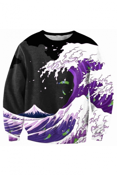 Block Sleeve Sweatshirt Neck Wave Color Printed Round Sea Pullover Long apwqdn