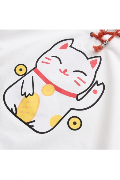Cute Cartoon Cat Printed Color Block Casual Loose Long Sleeve Hoodie