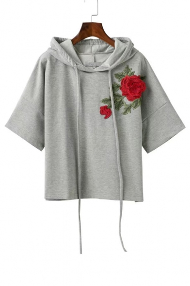 Drawstring Hooded Embroidery Floral Appliqued Short Sleeve Hoodie ...