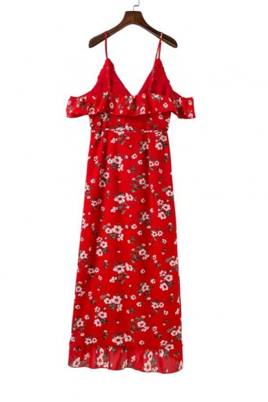 Summer's Beach Floral Printed Spaghetti Straps Cold Shoulder Asymmetrical Dress