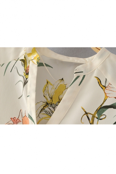 Summer's Floral Printed V Neck 3/4 Sleeve Pullover Blouse with Single Pocket