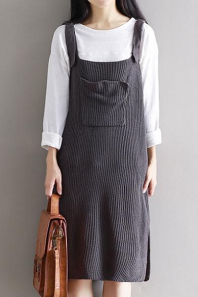 Basic Simple Plain Fashion Split Side Midi Knit Overall Dress with Single Pocket