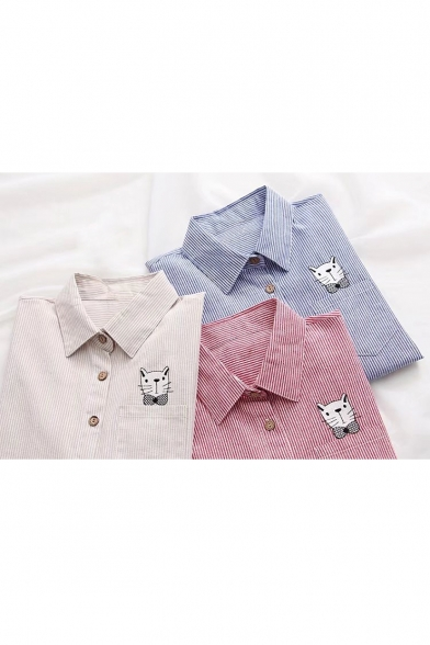 Sleeve Cartoon Long Print Pocket Striped Embroidered Buttons Shirt Cat Down nqwrpqFY