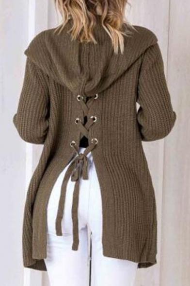 Fashion Lace-Up Split Back Hooded Long Sleeve Plain Cardigan with ...