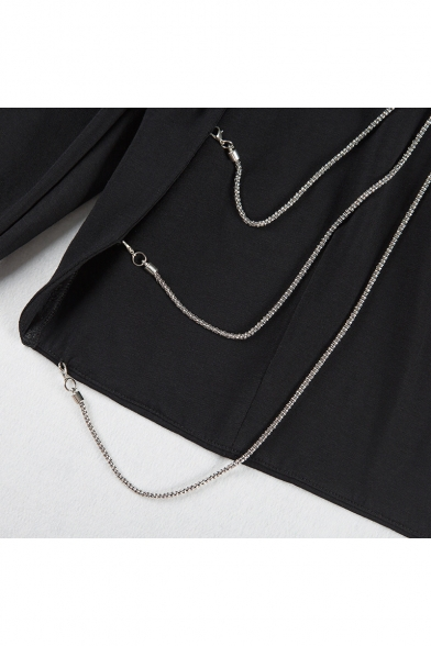 Round Cropped Sexy Long Sleeve Chain Open T Neck Fashion Plain Shirt Back IawqpzpRdx